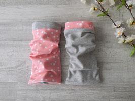 Armstulpen zum Wenden Dots rosa / weiß