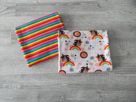 Stoffpaket Einhörner weiß/ Streifen