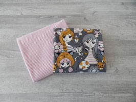 Stoffpaket Mädchen auf grau / Streifen rosa-weiß