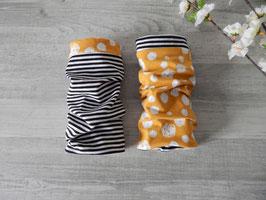 Armstulpen zum Wenden Kreise / Fadenbälle / Blumen - Streifen schwarz-weiß