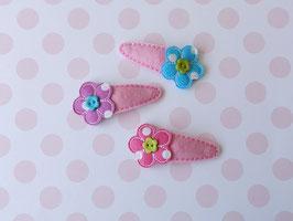 Haarspange mit Blumen rosa