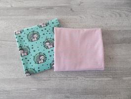 Stoffpaket Einhörner mint / Streifen rosa-weiß