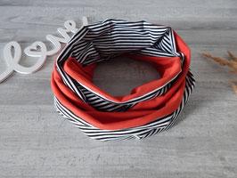 Loopschal Damen/Herren rot / Streifen schwarz-weiß