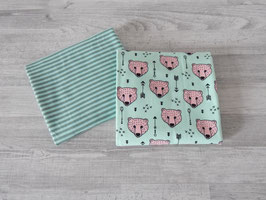 Stoffpaket Bären / Streifen mint