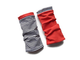 Armstulpen zum Wenden Unijersey rot / Streifen schwarz-weiß
