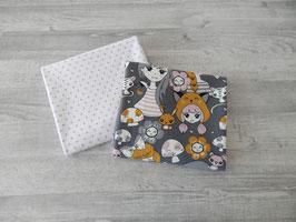 Stoffpaket Mädchen auf grau / Minidots weiß-altrosa
