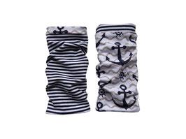 Armstulpen zum Wenden Anker auf Wellen / Streifen blau-weiß