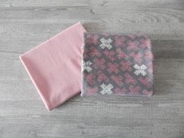 Stoffpaket Kreuze grau/rosa / Uni rosa
