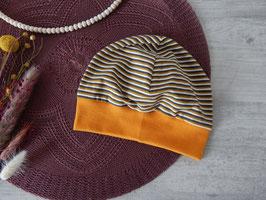 Bündchenmütze Streifen grau/senf