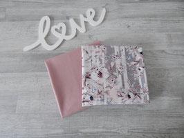Stoffpaket Jonne Blumen auf Streifen / Unijersey altrosa