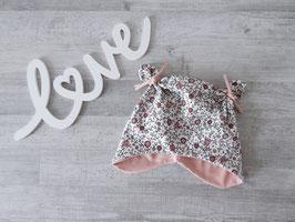 Ohrenmütze, Knotenmütze Vintage Blumenfeld rosa