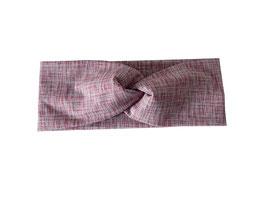 Stirnband Knoten Stripes altrosa-grau