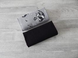 Stoffpaket Kritzeldrachen / Uni schwarz