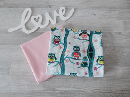 Stoffpaket Eulen / Uni rosa