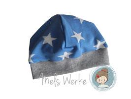 Bündchenmütze Sterne rauchblau/weiß