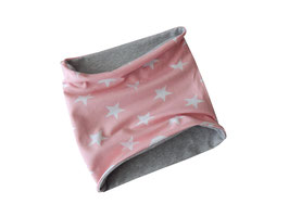 Schlupfschal Sterne rosa-weiß / hellgrau meliert