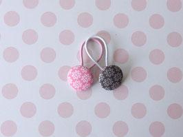 Haargummis Blümchen rosa/grau