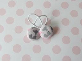 Haargummis Füchse grau auf rosa