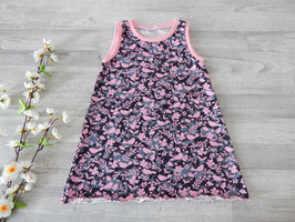 Gr. 92 Trägerkleid Vögel grau rosa mit Wellensaum