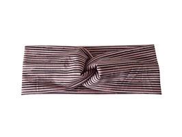Stirnband Knoten Streifen altrosa / mint - schwarz
