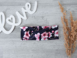 Stirnband / Haarband Twist Kirschblüten dunkelblau