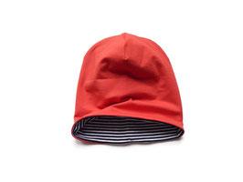 Wendebeanie Jersey rot / Streifen schwarz-weiß