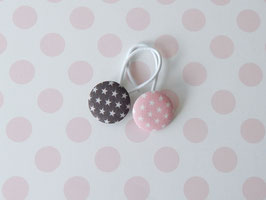 Haargummis Sterne rosa / grau