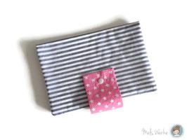 Windeltasche Streifen grau-weiß (rosa)