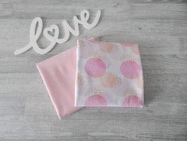 Stoffpaket Kreise / Uni rosa