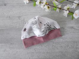 Bündchenmütze Blumen weiß/altrosa