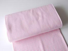 Bündchen Streifen rosa-weiß 0,25m x 0,5m