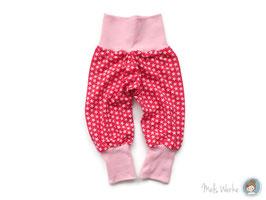 Mitwachshose (Gr.68, Gr.74) rosa Sterne auf pink