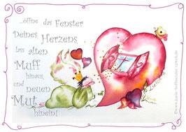 JOYFUL-ANGEL Klappgrußkarte/Herz mit Fenster♥