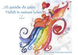 JOYFUL-ANGEL Klappgrußkarte/Regenbogenfarben♥