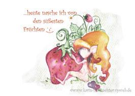 Joyful -Kobold Klappgrußkarte/ Erdbeere♥