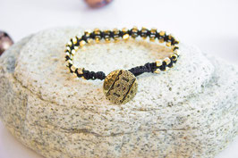 Makramee Armband Gold/Black