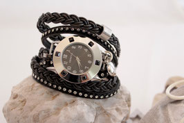 """3-fach Wickeluhr """"Crystal Black Leather-Stone"""""""