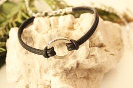 Nappaleder Armband Black | Edelstahl Circle