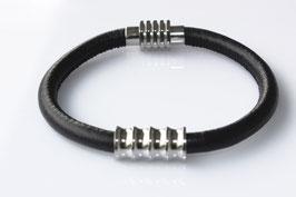 Nappalederarmband mit großer Edelstahl Ringperle