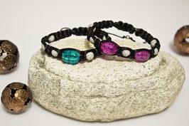 ***SALE*** Shamballa-Style Armband Schwarz - Crackle
