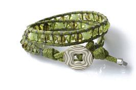 2-fach Wrap Armband Oliv