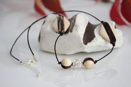 ***SALE*** Halskette Leder mit Palmholz & Strassperlen