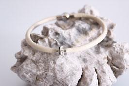 Nappaleder | Edelstahl Armband Beige Crystal