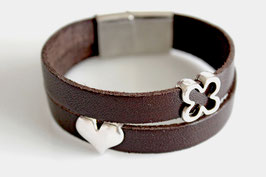 2-reihiges Lederarmband Heart& Flower