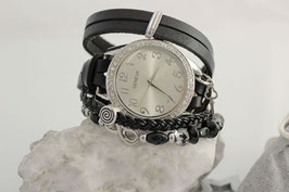 """3 fach Wickeluhr - """"Vintage Black Beauty Leather - Infinity"""""""