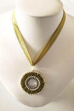 Circular Halskette mit Seidenband, kurz