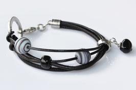 Lampwork Nappaleder | Edelstahl Armband Black