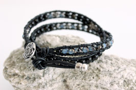 2-fach Wickelarmband Black-Azul