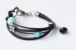 Lampwork Nappaleder | Edelstahl Armband Türkis-Black