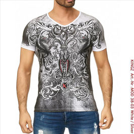 KINGZ Herren  T-Shirt  MOD 38-03 White/Silver